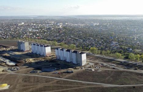 Вид на строящийся микрорайон Надежда в Крымске