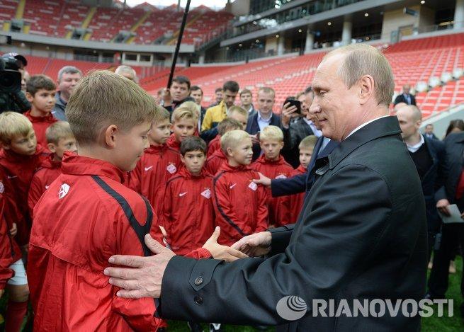 В.Путин посетил стадион Открытие Арена в Тушино