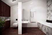 Как интересно вписать в интерьер ванной комнаты сантехнику