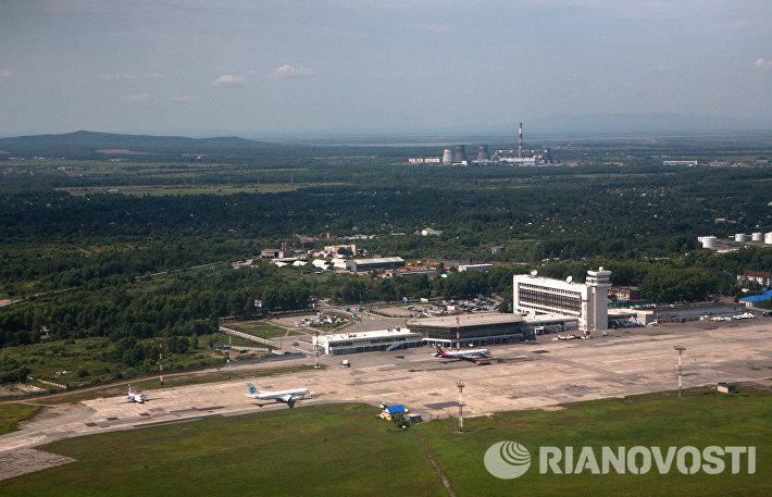 Вид на Хабаровск с борта самолета