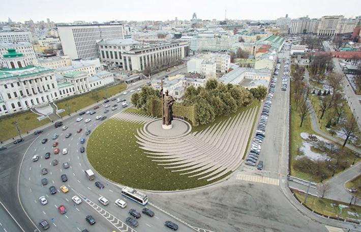 Проект благоустройства Боровицкой площади AI-Architects