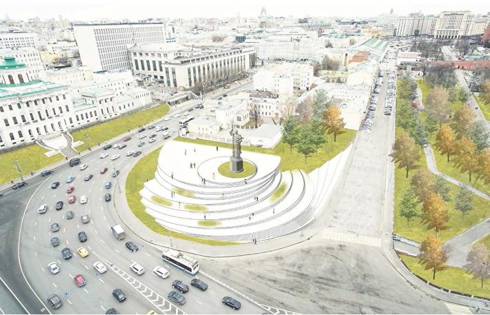 Проект благоустройства Боровицкой площади Kleinewelt Architekten