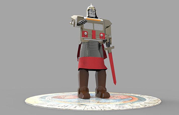 Фигура основателя Москвы Юрия Долгорукого в виде робота-богатыря